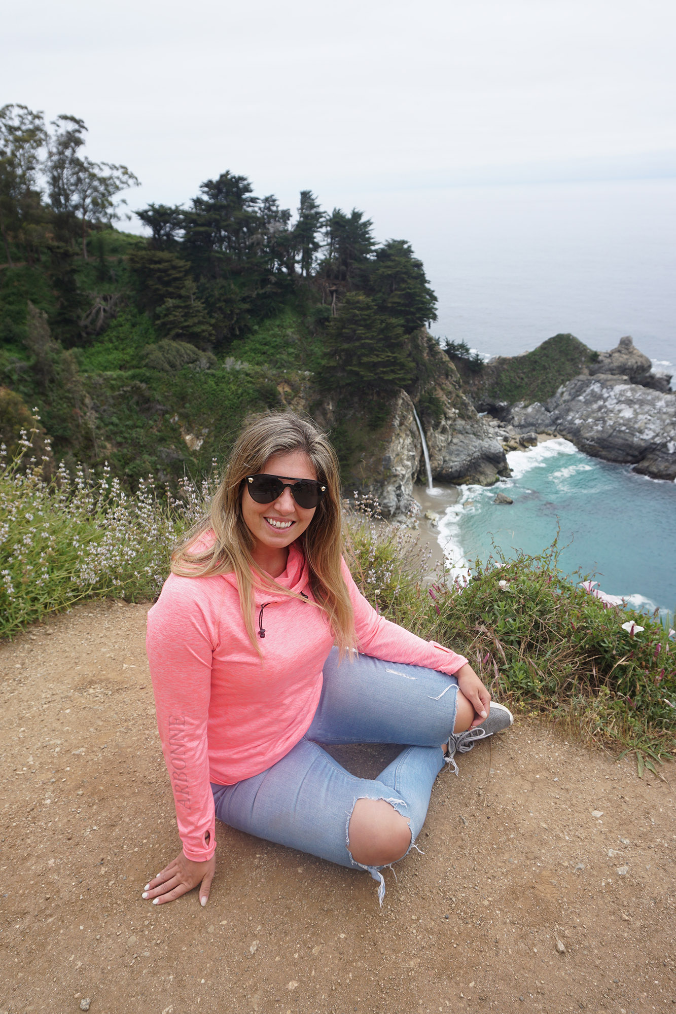 Posing with McWay Falls in the background